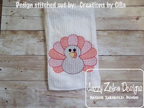 Turkey Motif Fill Embroidery Design - Thanksgiving Embroidery Design - Turkey Embroidery Design