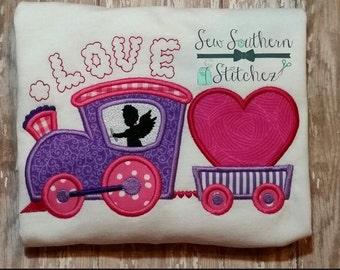 Valentine Love Train Applique Design ~ Cupid Driver ~ Instant Download