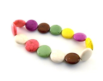 Beads Round Puffed Coin Magnesite Beads 6x10mm