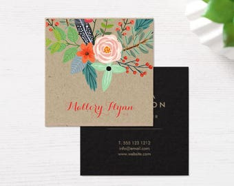 """100 Business Cards or tags 2.5""""X2.5"""" - printed on 18 PT THICK Kraft board/paper stock - with white ink option - recycled eco-friendly"""