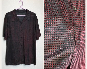 Vintage 1990s Semi Sheer Black and Red Collared Club Shirt