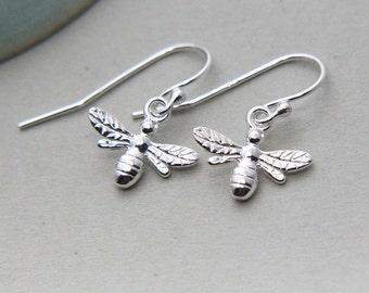 Bee Earrings, Sterling silver Bee Earrings, Honeybee Earrings, Bee Jewelry, Bumble bee Earrings, Tiny Bee Dangle Earrings, Gift for Mother