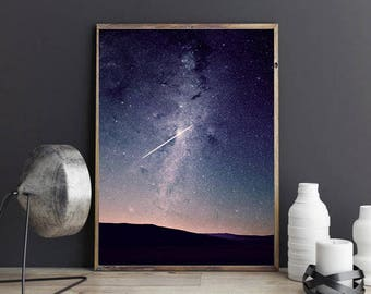 Meteor Shower Sky Print, Meteor Art Instant Download, Meteor Print, Meteor Art, Space Art, Galaxy Wall Art, Space Art, Astrology Wall Print