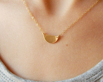 Small gold necklace, Half circle necklace, Dainty gold necklace, Tiny gold necklace, Delicate necklace, Gold jewelry, Dainty necklace