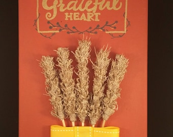 Give Thanks With a Grateful Heart Wheat Decor