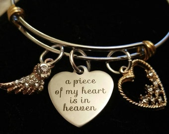 Memorial Bangle a piece of my heart is in heaven Stacker Bracelet Unusual gift for friend suffering bereavement loss husband Mom baby Dad