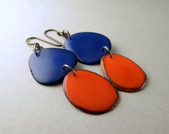 Royal Blue and Orange Tagua Nut Eco Friendly Earrings with Free USA Shipping #taguanut #ecofriendlyjewelry