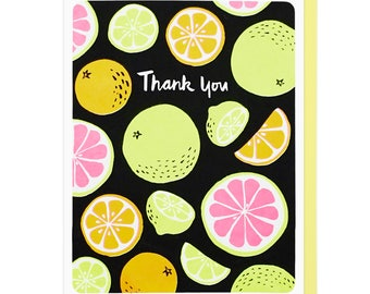 Thank You Citrus Fruits Letterpress Card