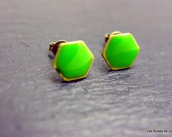 Bronze earrings, Hexagon earrings