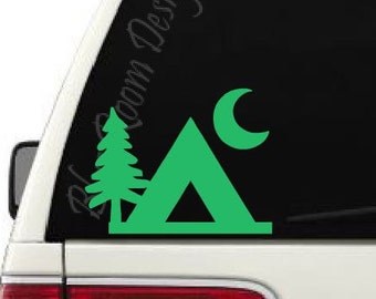 Camping Nature Tent Moon Vinyl Decal    Window Decal    Vinyl Sticker Car Outdoors Explore