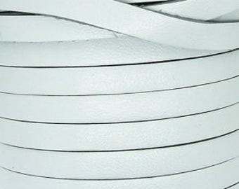 Leather Strip 5 mm white, sold by 20 cm