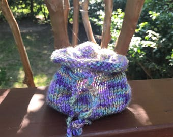 Hand knitted dice bag or rune bag