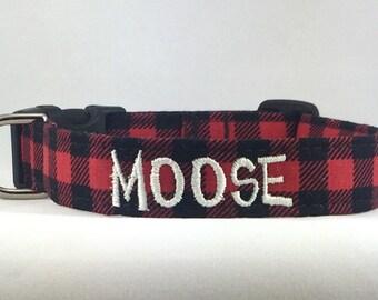 Plaid Dog Collar Personalized- LUMBERJACK BUFFALO PLAID