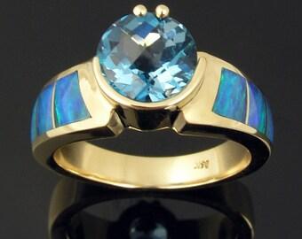 Australian opal ring with blue topaz in 14k gold