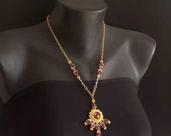 Gold Chain Necklace with Swarovski Crystal Pendant and Beads in Purple, Red Magma and Violet, with Beaded Connectors. Tibetan Sunset S173