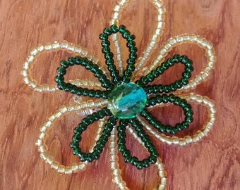 Brooch, beaded flower pin, handmade, floral jewelry, green, beads flower brooch, bright bead art, pin and earrings, holiday, gift for her B8