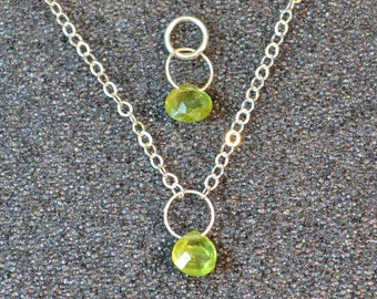 Genuine Peridot Faceted Briolette Necklace Or Pendant, You Choose! Dainty minimal simple layering August birthstone in sterling silver.