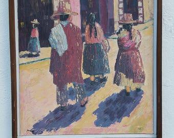 1975 Vintage Rural Street Scene  Painting By Romanac.