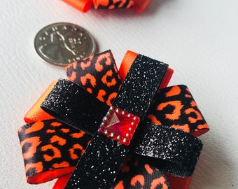 Fancy Ribbon hair bows on alligator clips, girls/toddler girls, irredescent jewelled centre, neon orange, leopard print ribbon
