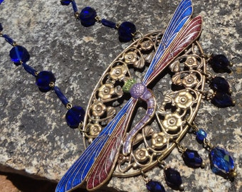 SALE--Art Nouveau Dragonfly Necklace Blue and Berry-One of a kind