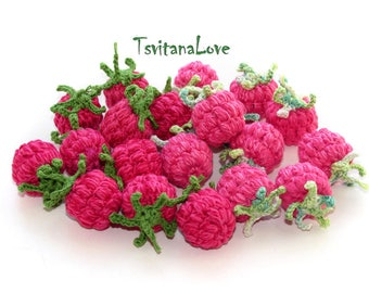 Raspberry crochet (1pc+) Stuffed berries - Raspberries Small Scullion Eco friendly toy Pretend Play food fruit - Cooking Inspiration Waldorf