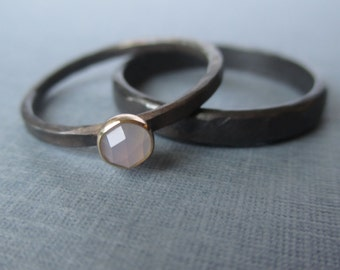 Ring Set.  Sterling Silver and 14k Gold. Lavender Blue Rose-Cut Chalcedony.  Wedding Set.  The Blackened Version