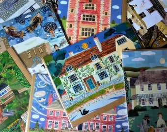 SAVE ON POSTAGE !!!!! Set of 6 Christmas or Greeting Cards! Your Choice! Writers' Houses,English Literature, Gift For Booklovers