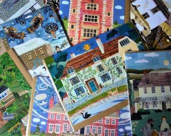 PORTO SPAREN!!! Set aus 6 Weihnachts- oder Grußkarten! Ihrer Wahl! Schriftstellers Häuser, englische Literatur, Geschenk für Bücherwürmer