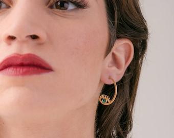 SINGLE Gold Hoop Earrings, Half Hoop Post Earrings, eye Earrings, Gold Plated Hook Earrings, evil eye Earrings, Gold Hoops, Gold Post Hoops