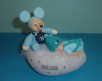 TO ORDER! Nightlight fimo baby boy and his character! Birth, baptism, birthday gift...