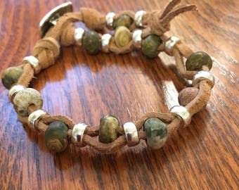 Leather Suede & Jasper Gemstone Bracelet multistrand leather bracelet Boho style