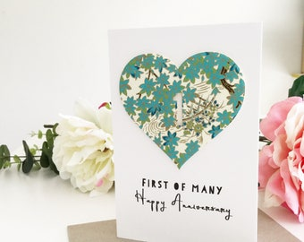 1 Year Anniversary, 1st Anniversary Gift, 1st Anniversary Card, First of Many, Happy Anniversary Card, First Anniversary Card, Mint Floral