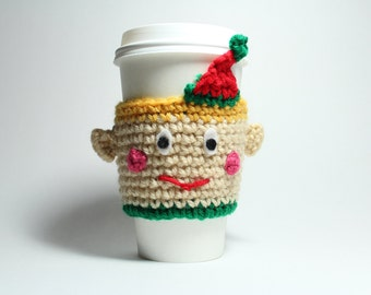 Elf Coffee Cozy, Crochet Coffee Sleeve, Can Holder, Christmas Travel Drink Cup Holder, Java Jacket