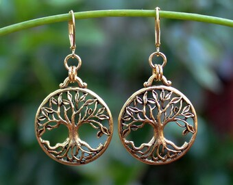 Tree of Life Dangle earrings.Gold.Metal.Round Drop.Statement.Bridal.Hammered.Judaica.Hanukkah. Bat-Mitzvah.Bohemian.Holiday.Gift. Handmade.