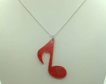 Music Note necklace, silver necklace, Musical Pendant, gift for her, resin pendant
