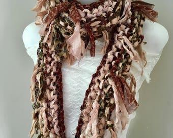 sale silk scarf, handknit, recycled silk scarf, beige brown