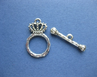 10 Sets - Crown Toggle Clasp - Toggle Clasp - Bracelet Clasp - Princess Clasp - Antique Silver - 23mm x 15mm & 25mm x 5mm -- (No.14-10622)