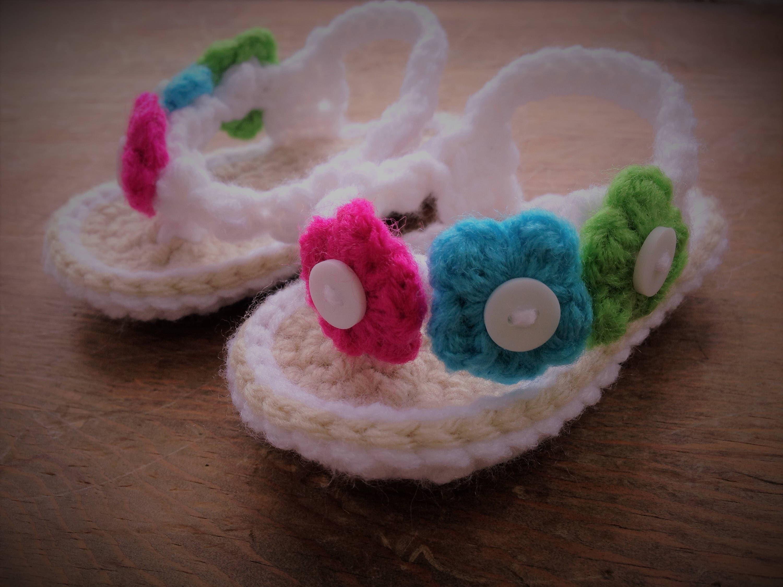 Crochet baby flip flops Baby girl flip flops Flower flip