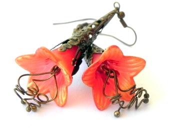 Lucite Trumpet Flower Earrings - Dangle Orange and Gold - Brass Filigree Cone