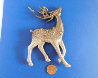 Christmas decoration tree ornaments Bronze & Gold Glitter reindeer Christmas reindeer gold bronze glitter covered decor deer cake toppers