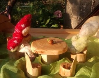 Wooden Table and chairs for gnomes, fairies, peg dolls / Doll house furniture / Reclaimed wood / Wiwiurka /