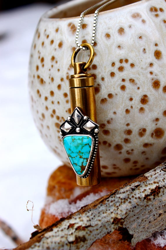 "Keepsake Vial Necklace//Royston Turquoise//Mixed-Metal Sterling Silver and Brass//22"" Box Chain//Keychain"
