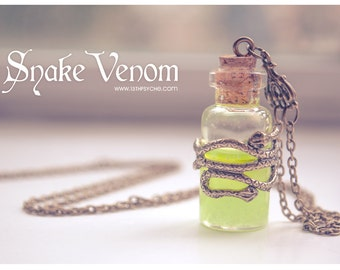 Glowing Necklace, Snake venom bottle Necklace. gothic poison pendant, glow in the dark necklace potion bottle, Inspirational gift for women