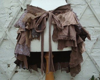 Upcycled  Brown Bustle Woman's Clothing Tribal Tatterd Wild Shredded Ruffles Pleated Distressed Cotton Lace Hand Dyed Layers
