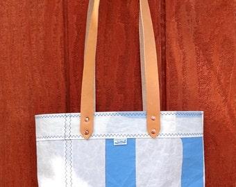 Sailcloth, Dacron J24 Sailcloth, Blue Taslon Ripstop Lining, Tan Leather Straps, Inside Pocket, Copper Rivets