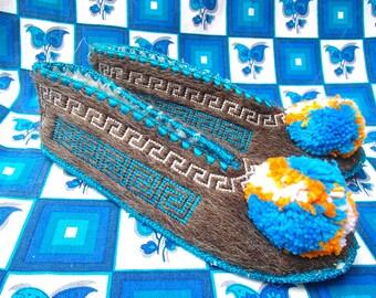 Greek Slippers Size 45 / UK11 / wool / leather / pompom