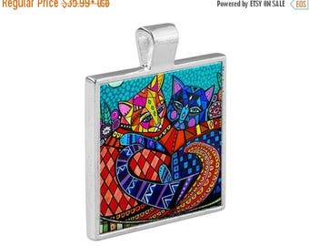 SALE NOW- Two Cats Hugging Folk Art Jewelry - Pendant Metal  Gift Art Heather Galler Gift-  Cat Lovers Abstract Modern Vegan Gifts