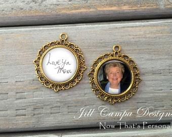 Bridal Charms, gold, Wedding Bouquet Memorial Photo Charm, Wedding Bouquet Charm, Photo Wedding Bouquet Charm - SET of 2 - Bouquet Charm
