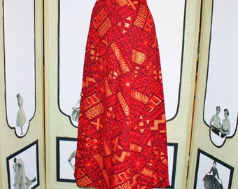 EXQUISITE 1960's Hawaiian Tapa Print Wrap Skirt in Red and Metallic Gold. MINT. Small.
