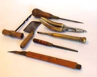 Old miniature vintage HAND TOOLS antique tools industrial decor